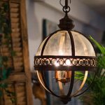 Antique Cast Iron Glass Ball Light