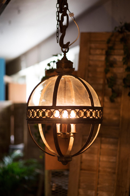 Antique Cast Iron Glass Ball Light