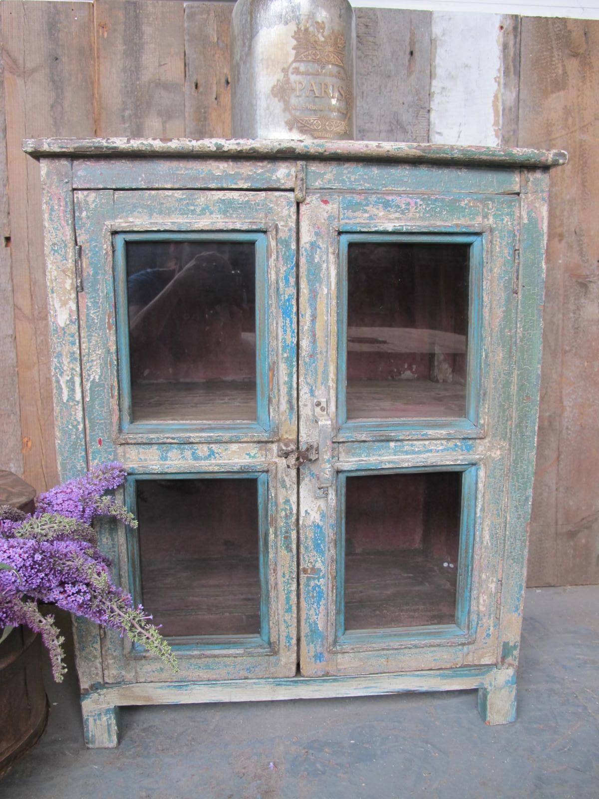 Vintage Distressed Glass Cabinet