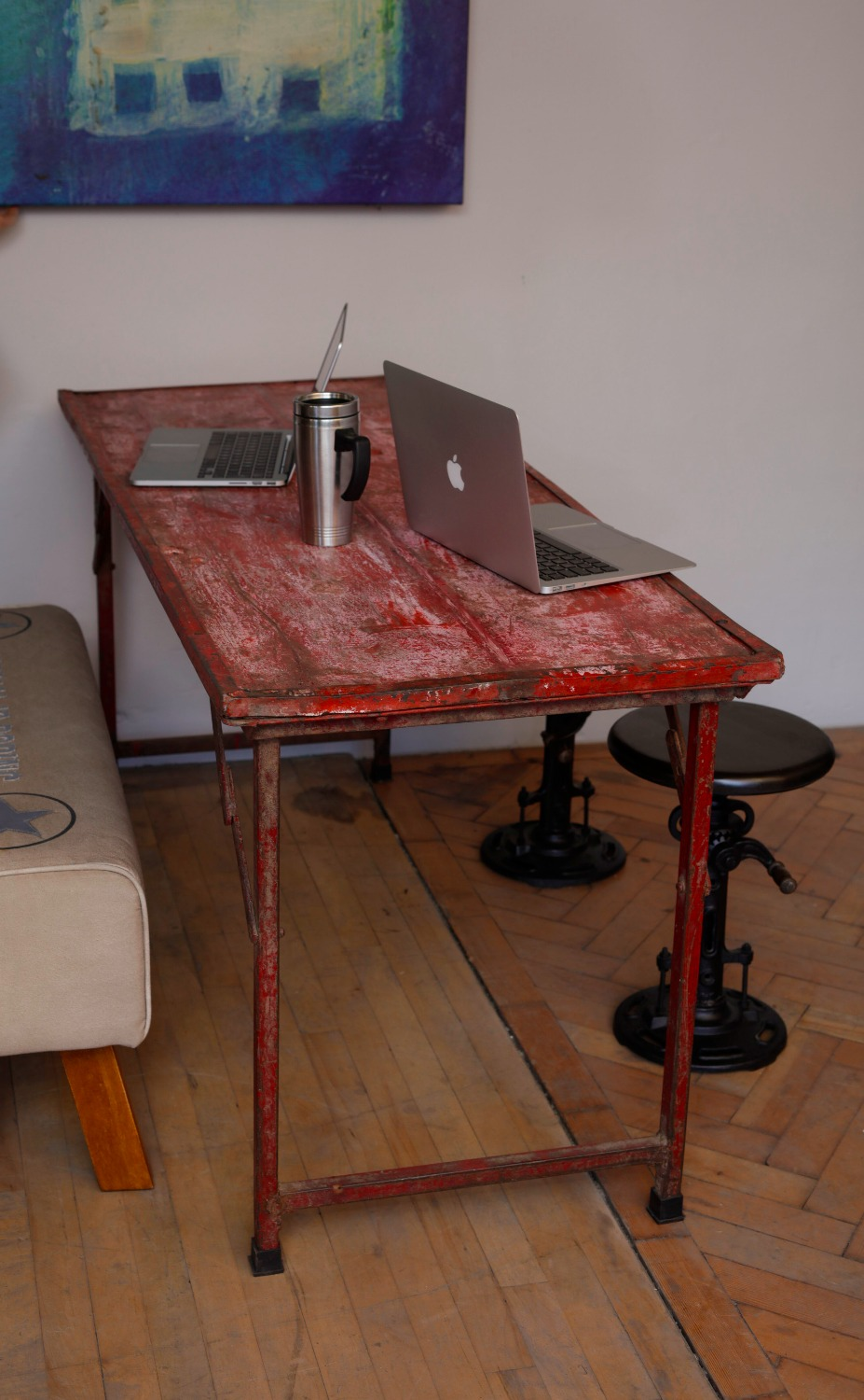 Vintage Metal and wood Foldable Table