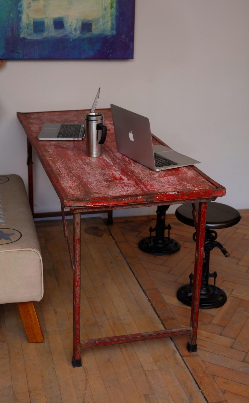 Vintage Metal and wood Foldable Table