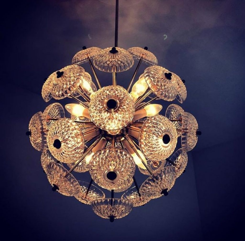 Mis Century Glass/ Brass Sputnik Light