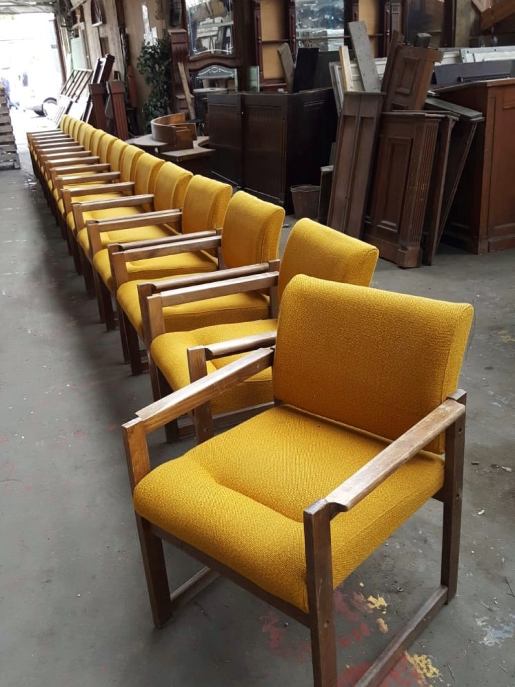 Vintage Upholstered Yellow Chair